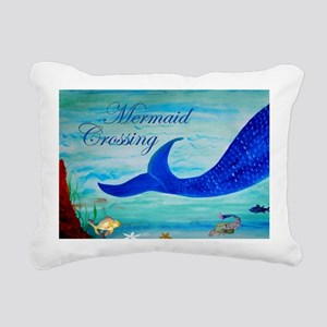 Mermaid Crossing Rectangular Canvas Pillow
